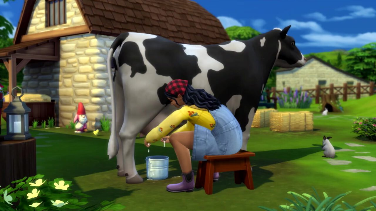 The Sims 4 Cottage Living - Sim milking a cow.