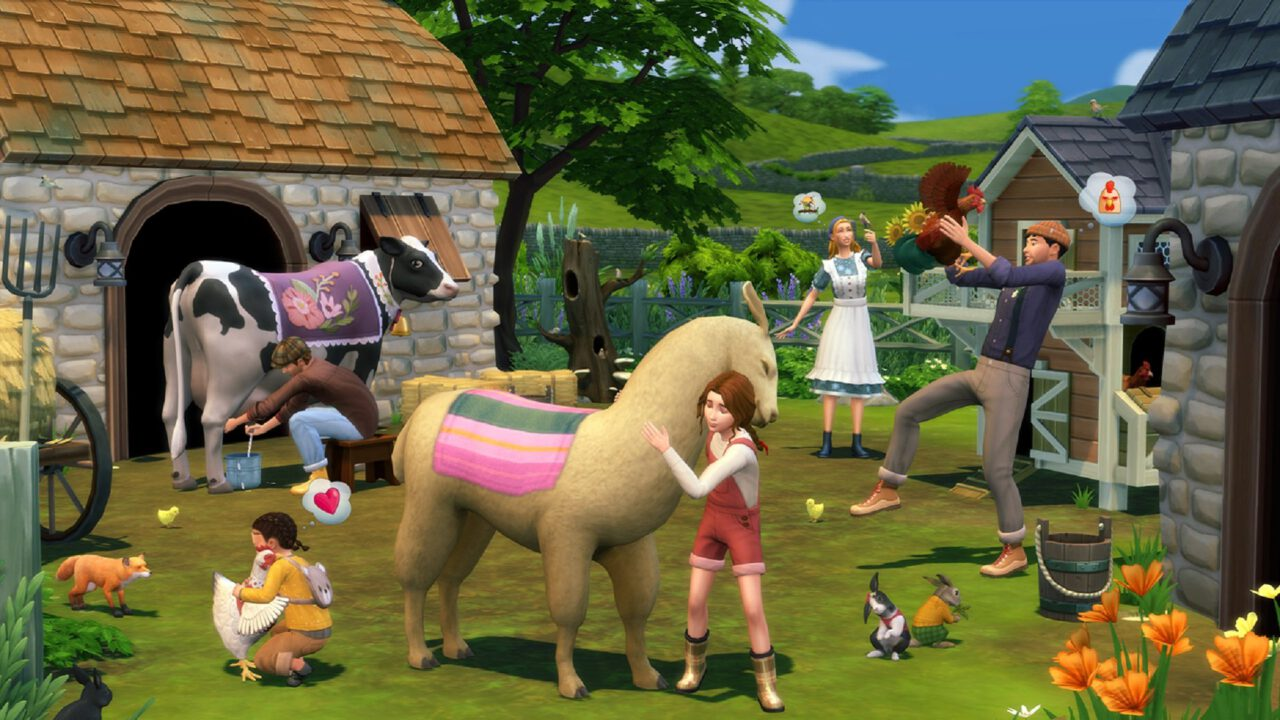 The Sims 4 Cottage Living. Cows and Llamas.