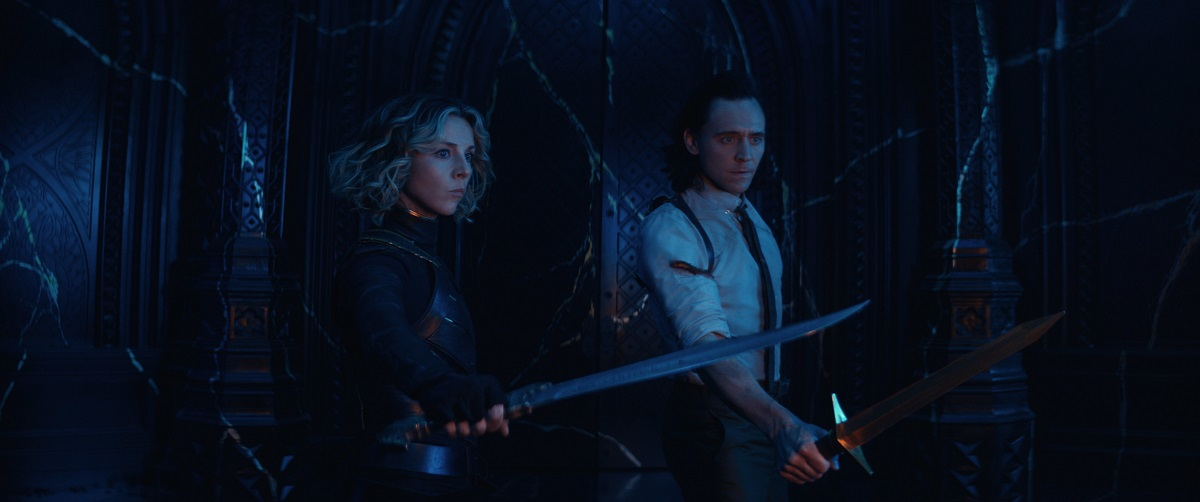 """Still of Sophia Di Martino and Tom Hiddleston in the Loki episode """"For All Time. Always."""""""