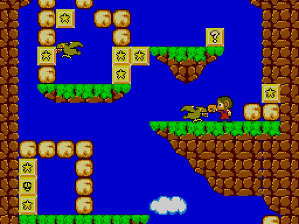 Screenshot of Alex Kidd in Miracle World console game.