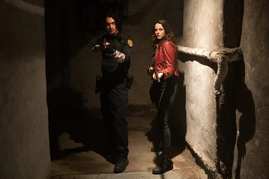Avan Jogia and Kaya Scodelario as Leon Kennedy and Claire Redfield in Resident Evil: Welcome to Raccoon City.