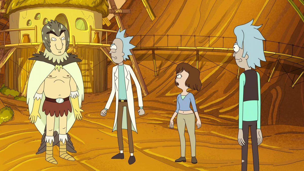"""Photo of Birdperson, Rick, Tammy, and Young Rick in the Rick and Morty episode """"Rickternal Friendshine of the Spotless Mort."""""""