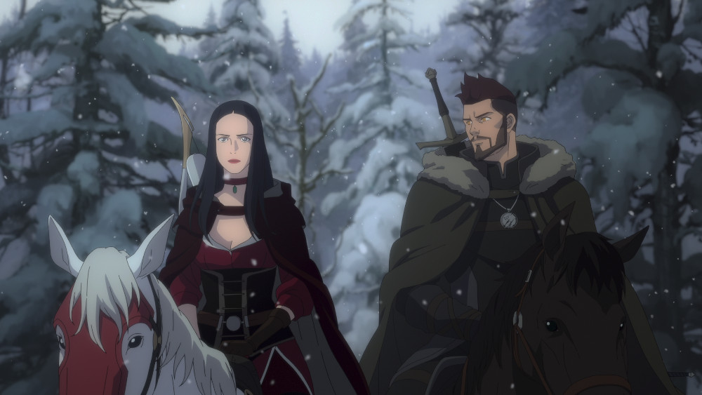 Teetra and Vesemir riding together in The Witcher: Nightmare of the Wolf.