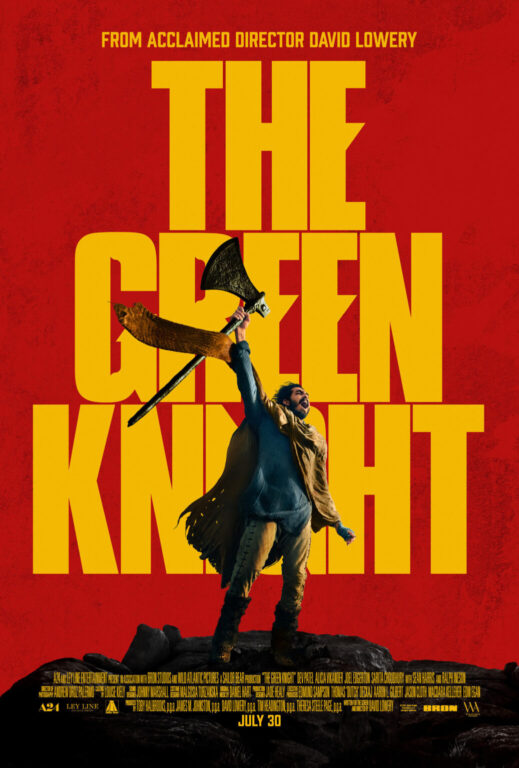 Dev Patel holding an axe in The Green Knight poster