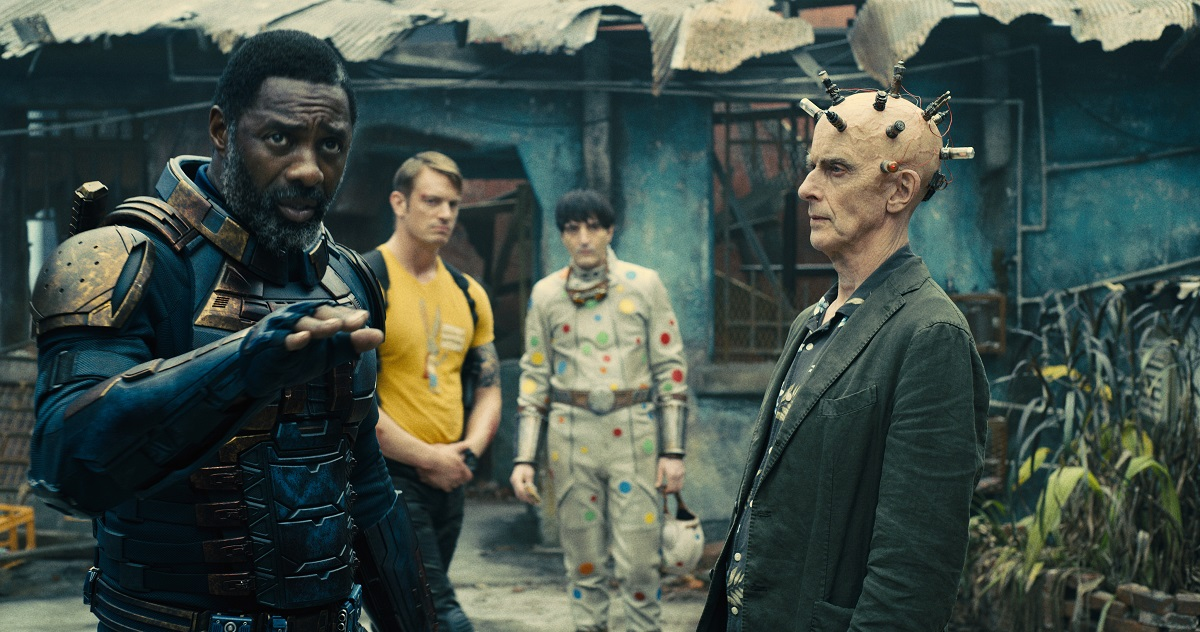 Still of Idris Elba and Peter Capaldi in James Gunn's The Suicide Squad.