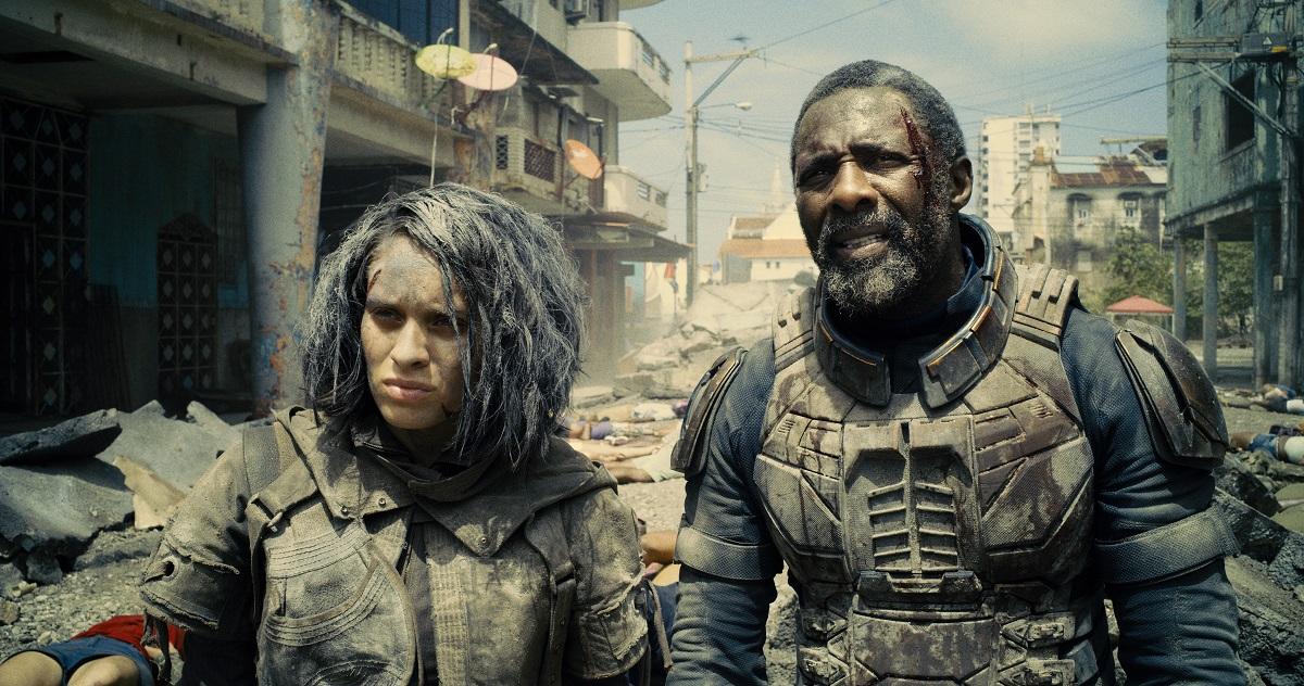 Still of Daniela Melchior and Idris Elba in James Gunn's The Suicide Squad.