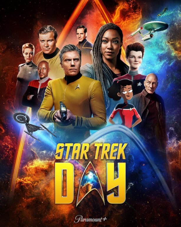 the star trek day poster featuring characters from the star trek universe