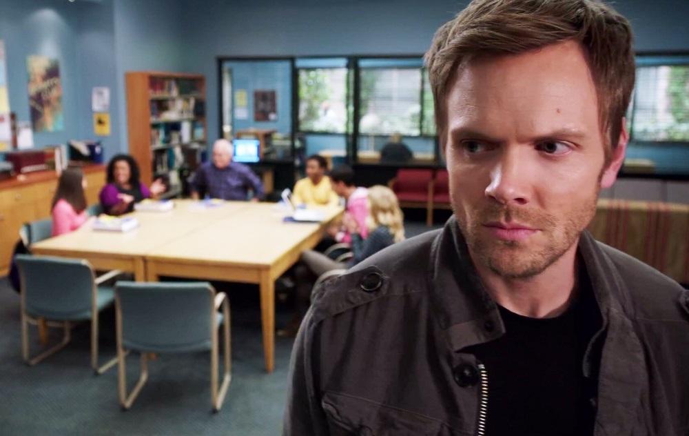 """Still of Joel McHale in the Community episode """"Biology 101."""""""