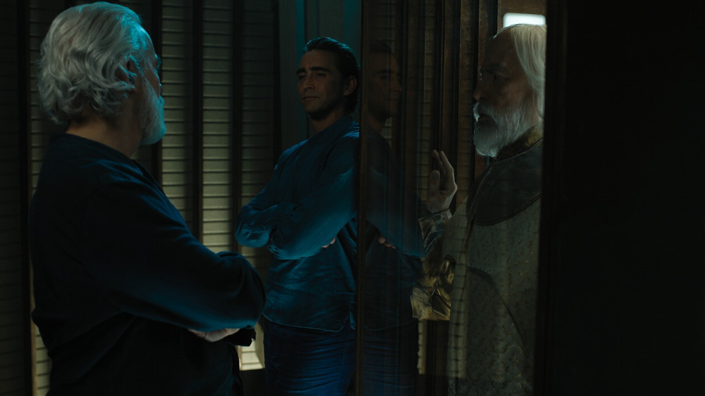 Terrance Mann as Brother Dusk and Lee Pace as Brother Day in Foundation.