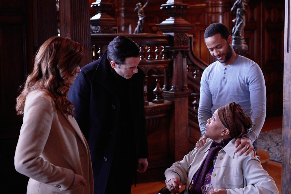 """Still of Sarah Levy, Tim Rozon, Romaine Waite and Darlene Cooke in the SurrealEstate episode """"White Wedding."""""""