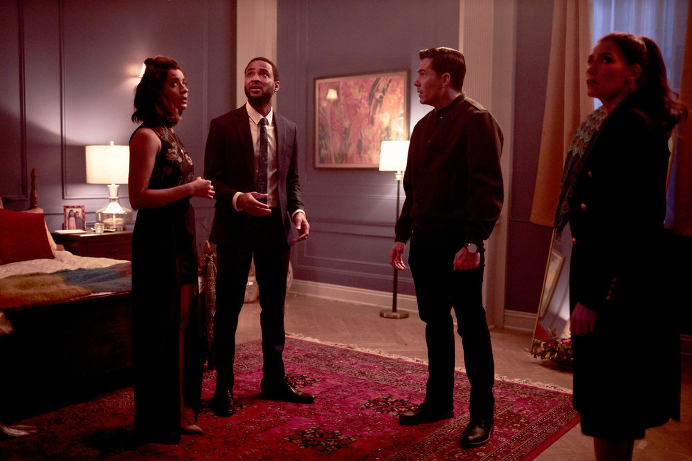 """Still of Supinder Wraich, Romaine Waite, Tim Rozon and Sarah Levy in the SurrealEstate episode """"White Wedding."""""""